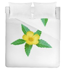 Yellow Flower With Leaves Photo Duvet Cover Double Side (Queen Size)