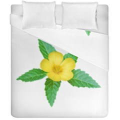 Yellow Flower With Leaves Photo Duvet Cover Double Side (california King Size)