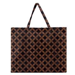 Circles3 Black Marble & Brown Wood Zipper Large Tote Bag