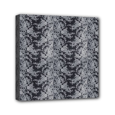 Black Floral Lace Pattern Mini Canvas 6  X 6