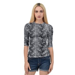 Black Floral Lace Pattern Quarter Sleeve Tee
