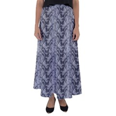 Black Floral Lace Pattern Flared Maxi Skirt