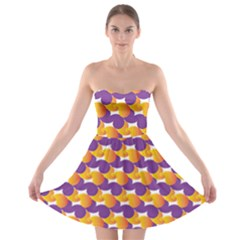 Purple And Yellow Abstract Pattern Strapless Bra Top Dress