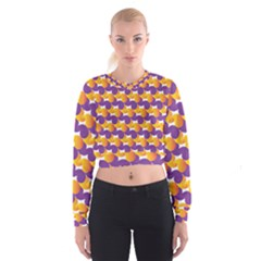 Purple And Yellow Abstract Pattern Cropped Sweatshirt