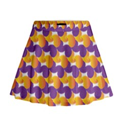 Purple And Yellow Abstract Pattern Mini Flare Skirt