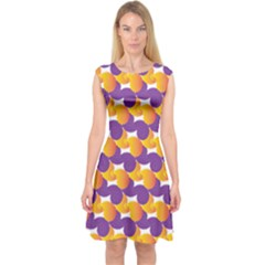 Purple And Yellow Abstract Pattern Capsleeve Midi Dress