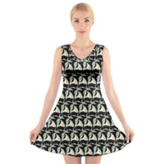Colorful Pop Art Monkey Pattern V Neck Sleeveless Skater Dress