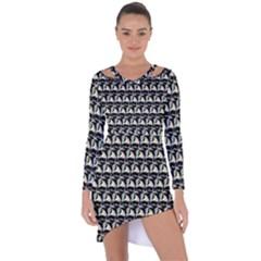 Colorful Pop Art Monkey Pattern Asymmetric Cut Out Shift Dress