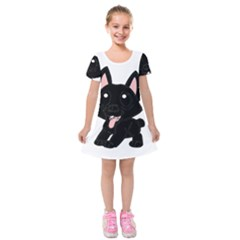 Cane Corso Cartoon Kids  Short Sleeve Velvet Dress