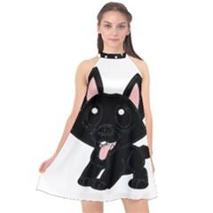 Cane Corso Cartoon Halter Neckline Chiffon Dress