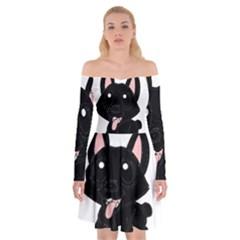 Cane Corso Cartoon Off Shoulder Skater Dress