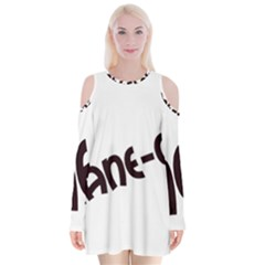 Cane Corso Mashup Velvet Long Sleeve Shoulder Cutout Dress