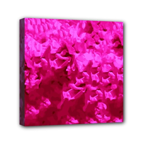 Hot Pink Floral Pattern Mini Canvas 6  X 6
