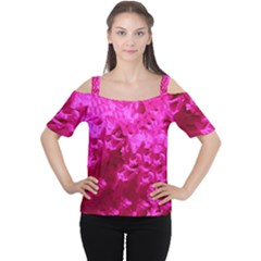 Hot Pink Floral Pattern Cutout Shoulder Tee