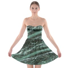 Green Marble Stone Texture Emerald  Strapless Bra Top Dress