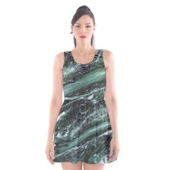 Green Marble Stone Texture Emerald  Scoop Neck Skater Dress