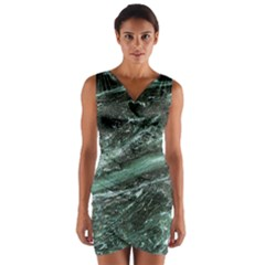 Green Marble Stone Texture Emerald  Wrap Front Bodycon Dress