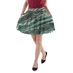 Green Marble Stone Texture Emerald  A Line Pocket Skirt