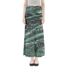 Green Marble Stone Texture Emerald  Full Length Maxi Skirt