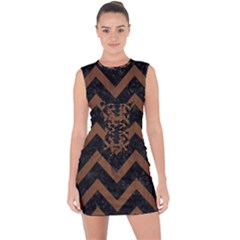 Chevron9 Black Marble & Brown Wood Lace Up Front Bodycon Dress