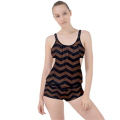 Chevron3 Black Marble & Brown Wood Boyleg Tankini Set