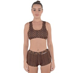 Brick2 Black Marble & Brown Wood (r) Racerback Boyleg Bikini Set