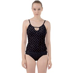 Brick2 Black Marble & Brown Wood Cut Out Top Tankini Set