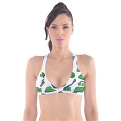 Green Music Pattern Plunge Bikini Top