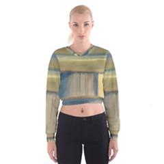 Denim Blue And Buttercream Cropped Sweatshirt