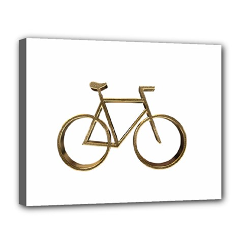 Elegant Gold Look Bicycle Cycling  Canvas 14  X 11