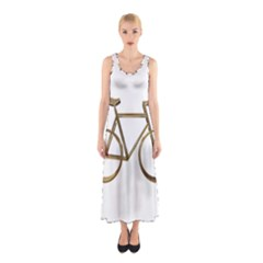 Elegant Gold Look Bicycle Cycling  Sleeveless Maxi Dress