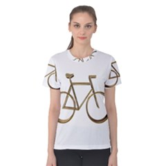 Elegant Gold Look Bicycle Cycling  Women s Cotton Tee