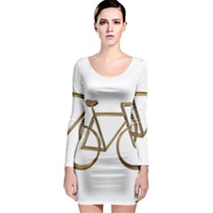 Elegant Gold Look Bicycle Cycling  Long Sleeve Bodycon Dress