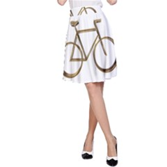 Elegant Gold Look Bicycle Cycling  A Line Skirt