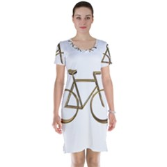 Elegant Gold Look Bicycle Cycling  Short Sleeve Nightdress