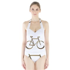 Elegant Gold Look Bicycle Cycling  Halter Swimsuit