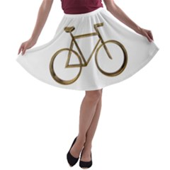 Elegant Gold Look Bicycle Cycling  A Line Skater Skirt