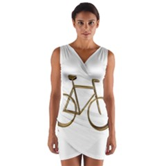 Elegant Gold Look Bicycle Cycling  Wrap Front Bodycon Dress