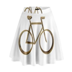 Elegant Gold Look Bicycle Cycling  High Waist Skirt