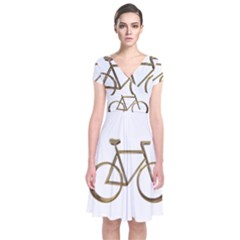 Elegant Gold Look Bicycle Cycling  Short Sleeve Front Wrap Dress