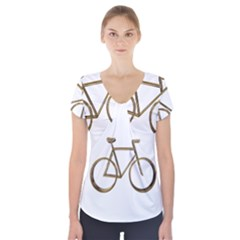 Elegant Gold Look Bicycle Cycling  Short Sleeve Front Detail Top