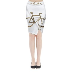 Elegant Gold Look Bicycle Cycling  Midi Wrap Pencil Skirt