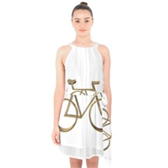 Elegant Gold Look Bicycle Cycling  Halter Collar Waist Tie Chiffon Dress