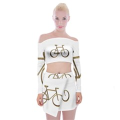 Elegant Gold Look Bicycle Cycling  Off Shoulder Top With Skirt Set
