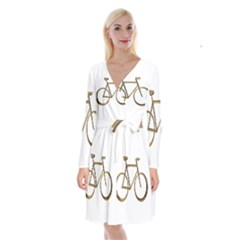 Elegant Gold Look Bicycle Cycling  Long Sleeve Velvet Front Wrap Dress
