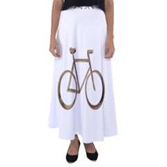 Elegant Gold Look Bicycle Cycling  Flared Maxi Skirt