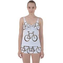Elegant Gold Look Bicycle Cycling  Tie Front Two Piece Tankini