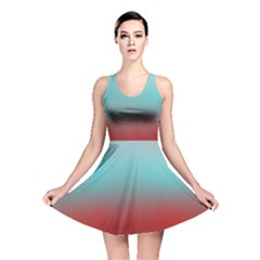 Frosted Blue And Red Reversible Skater Dress