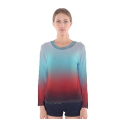 Frosted Blue And Red Women s Long Sleeve Tee