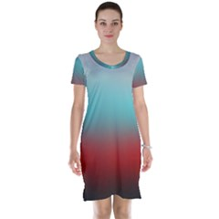 Frosted Blue And Red Short Sleeve Nightdress